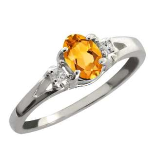 44 Ct Yellow Oval Citrine and White Topaz Sterling Silver Ring