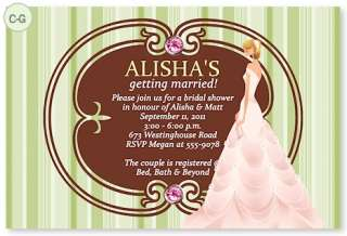 Bridal Shower Wedding Invitations Custom Damask Bride CUSTOMIZED Any
