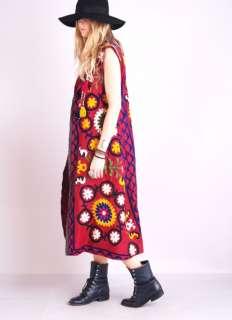Vtg HAND EMBROIDERED Gypsy Hippie Native BEADED FRINGE Draped Gilet