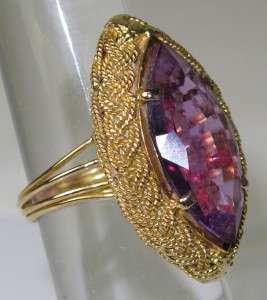 Rare Victorian 18K Yellow Gold 3.50ctw Amethyst Ring Size 6.5~Retail $
