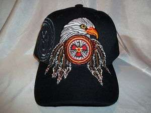 NATIVE PRIDE W/ EAGLE & FEATHERS BALL CAP HAT IN BLACK