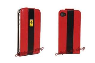 RED Ferrari Genuine Leather Flip Case for iPhone 4