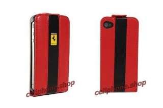 RED Ferrari Genuine Leather Flip Case for iPhone 4