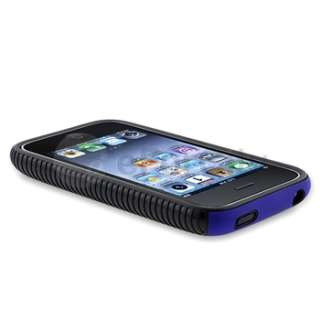 Gel CASE Blue Hard COVER+Anti Glare Protector For iPhone 3G 3GS