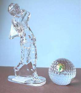 Waterford Golfer & Golf Ball Duo Crystal Ireland New