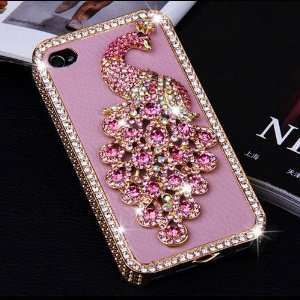 Bling Rhinestones Diamond Peacock Case Cover for iPhone 4 / 4S   Pink
