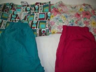 Vet Scrubs Lot of 10 Printed Outfits Sets Size LARGE L LG LRG