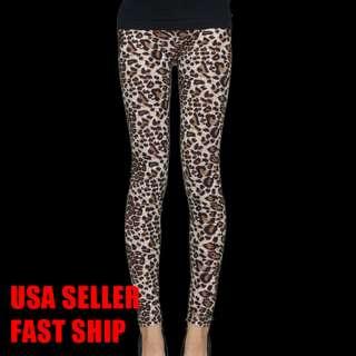 Leopard Print Women Rock Punk Funky Sexy Leggings Tights Pants Leopard