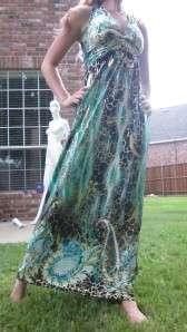 Long Aqua Summer Sexy Party Cocktail Maxi Dress S 3XL
