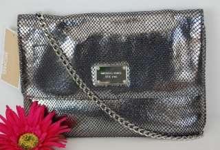 198 New MICHAEL KORS Jet Set Gunmetal Snake Embossed Leather Handbag