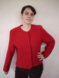 Vintage LANDS END Bright Red BOILED WOOL Womens Sweater JACKET