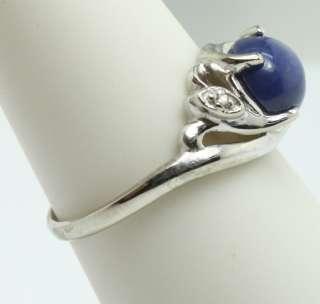 Linde Blue LC Star Sapphire w/ Diamond Chips 10k White Gold Swirl Ring