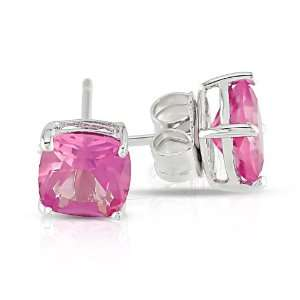 Sterling Silver 2 1/2 CT TGW Created Pink Sapphire Solitaire Earrings