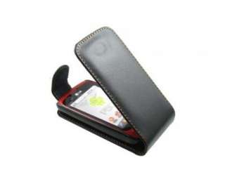 Black Flip Leather Case Punch For LG Optimus One P500 Phone