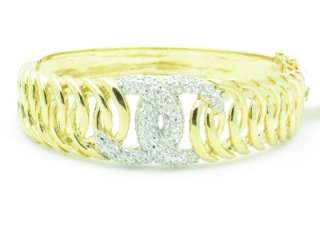 18KT YELLOW GOLD SILVER DIAMOND SET PAVE WHITE SAPPHIRE BANGLE CUFF