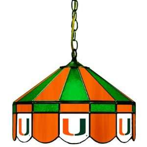 Miami Hurricanes 16 Stained Glass Hanging Lamp Sports