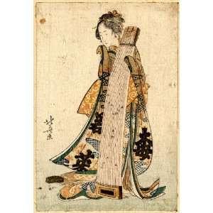 Japanese Print Koto o idaku musume. TITLE TRANSLATION Young maiden