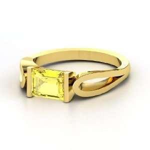 Loop de Loop Ring, Emerald Cut Yellow Sapphire 14K Yellow