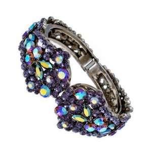 Jewellery   Tanzanite Swarovski Crystal Cluster Bangle / Bracelet