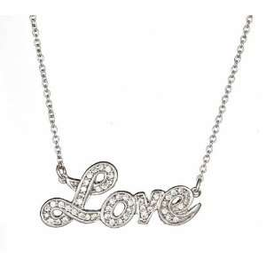 Christines CZ Love Necklace  Silver Jewelry