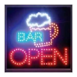 Beer Mug Bar OPEN LED Moving Neon Sign   19 x 19 L84