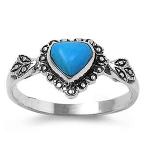Sterling Silver Ring W Turquoise Stone (Heart Shape)   2mm