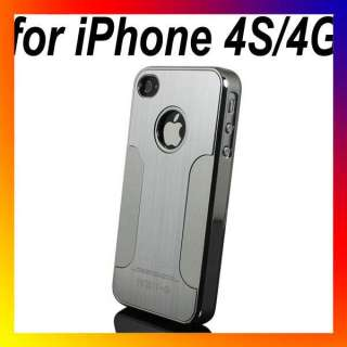 Aluminum Chrome Hard Back Case Cover For Apple iPhone 4S 4G Silver