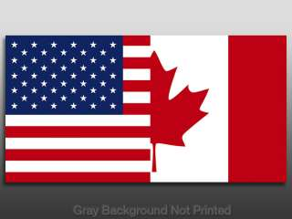 USA Canada Dual Flag Sticker  American Canadian us