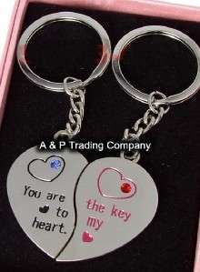 SW443 I Love You Lovely Heart Wedding Couple Key Chain