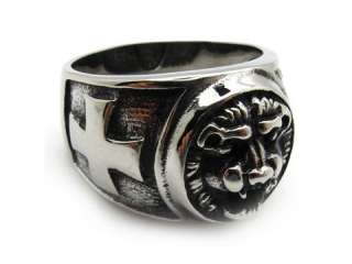 Mens PUNK gothic silver stainless steel cool cross lion party band