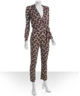Diane Von Furstenberg clouds tobacco printed silk jersey Masanori