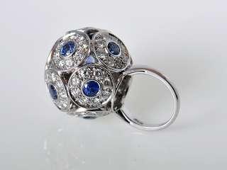 Salavetti 18K White Gold Diamond Sapphire Ring WOW