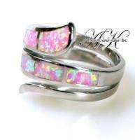NEW 925 STERLING SILVER CREATED PINK OPAL RING *SIZE 8*