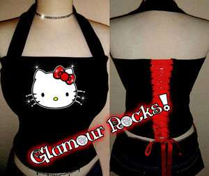 HELLO KITTY RHINESTONE T SHIRT CORSET HALTER TOP