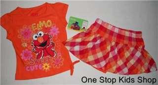 2T 3T 4T 5T Set OUTFIT Shirt Skirt Skort Shorts SESAME STREET