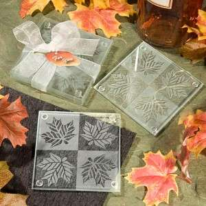 72 (2pc) Sets Fall Autumn Theme Leaf Design Frosted Glass Coaster