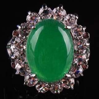 New Green Jade Crystal Oval Bead Finger Ring GEM Size 8