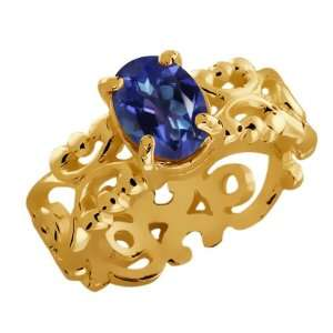 60 Ct Oval Tanzanite Blue Mystic Topaz 10k Yellow Gold Ring Jewelry