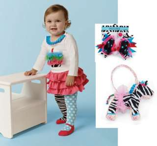 Mud Pie Baby Girls Wild Child Zebra Skirt Tights Birthday Cupcake Set