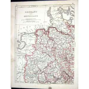 Antique Map 1853 Germany Switzerland Prussia Hanover