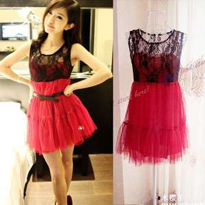 Women Lady Korean Fashion Sexy Lace Ruched Cocktail Dress Black+ Red