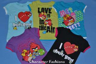 Girls ANGRY BIRDS Shirt Tee Top Size 4 5 6 6X 7 8 9 10 11 12 14 16 S M