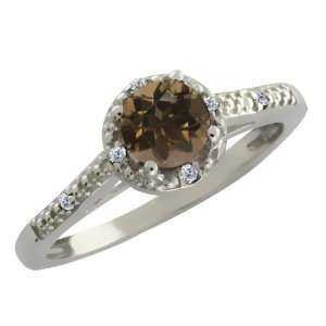 0.49 Ct Round Brown Smoky Quartz and White Diamond