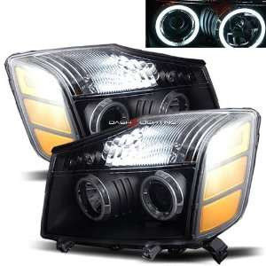 04 08 Nissan Titan CCFL Halo Projector Headlights   Black Automotive