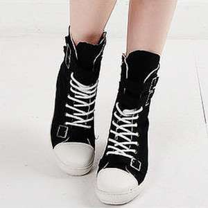Womens Black White Buckle High Top Sneakers Boots US6~8