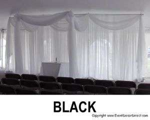 Curtain for Draping Wedding Backdrop, Party Drape Decor  BLACK