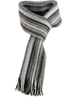 Ben Sherman Mens Stripe Wool Scarf Made in Scotland