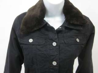BUFFALO JEANS Black Brown Faux Fur Jacket Coat Size P/S