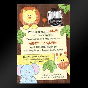 Animals Brown Baby Shower or Birthday Invitations   Safari, Zoo, Lion