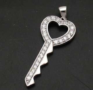 Diamonique Heart Key Pendant 925 Sterling Silver